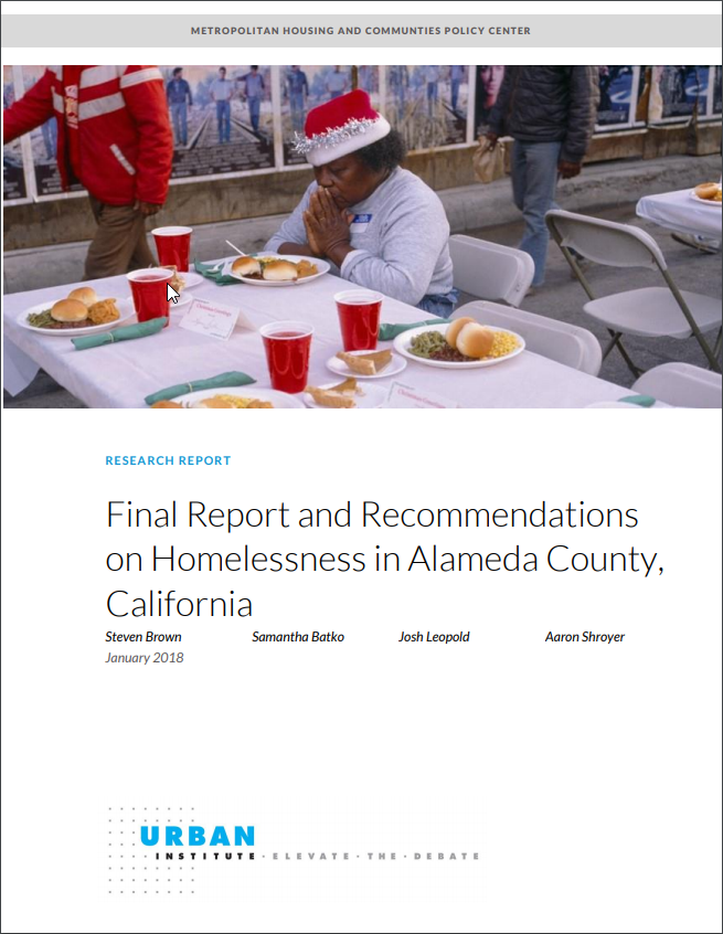 Cover from the Urban Institute Report on Homelessness in Alameda County