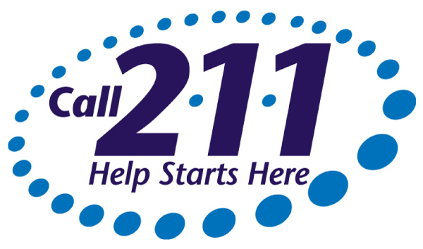 Call 2-1-1 logo. Tagline says: Help Starts Here